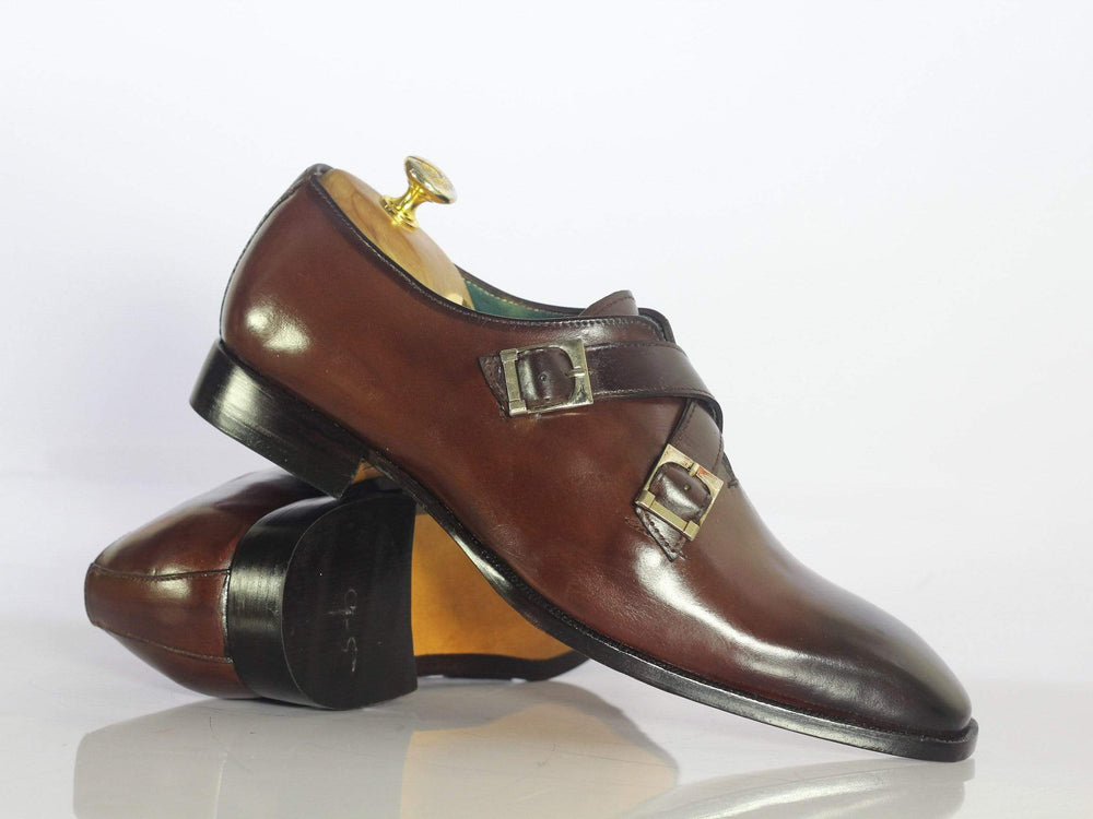 Bespoke Brown Leather Monk Strap Shoes for Men's