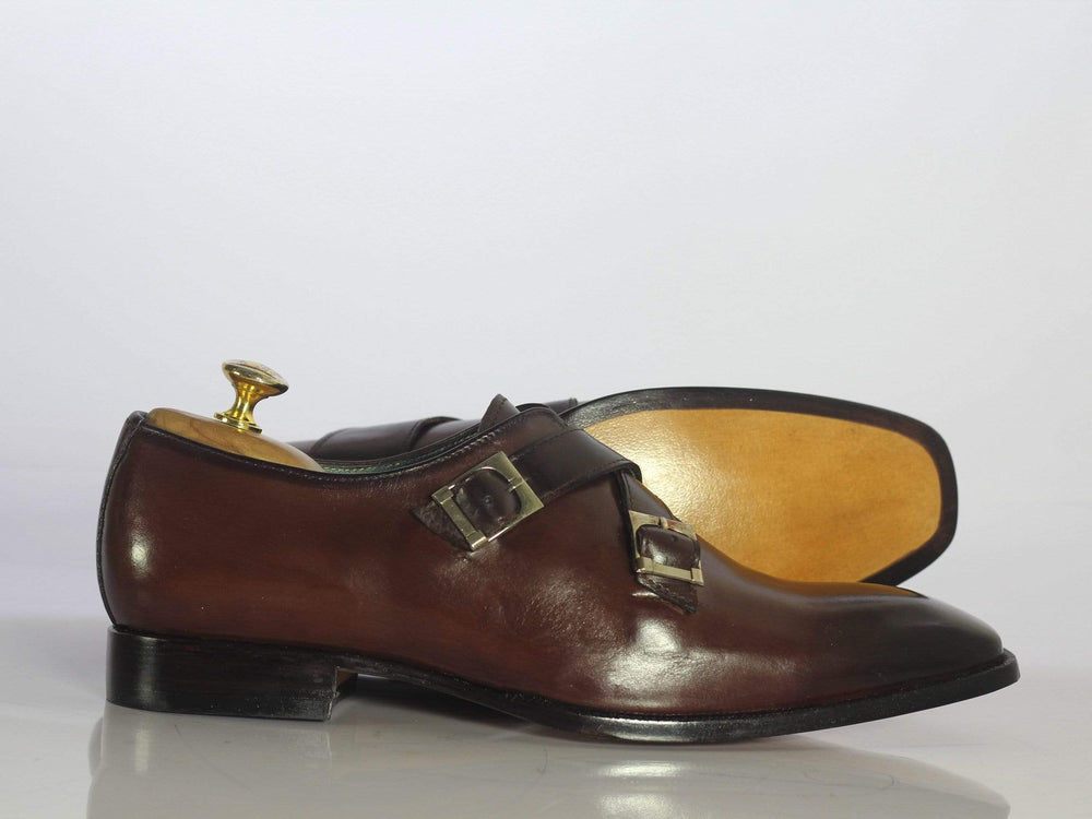 BESPOKESTORES dress shoes Bespoke Brown Leather Monk Strap Shoes for Men's