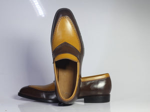 BESPOKESTORES dress shoes Bespoke Brown & Mustard Leather Loafers for Men's