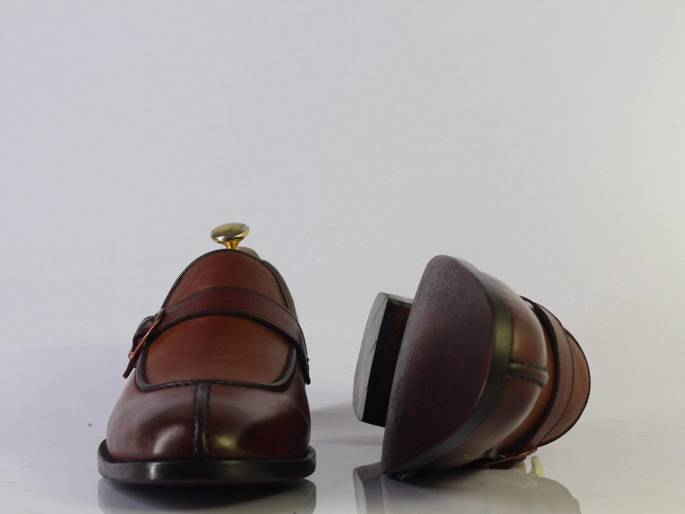 BESPOKESTORES dress shoes Bespoke Brown Split Toe Leather Buckle Loafers For Men's