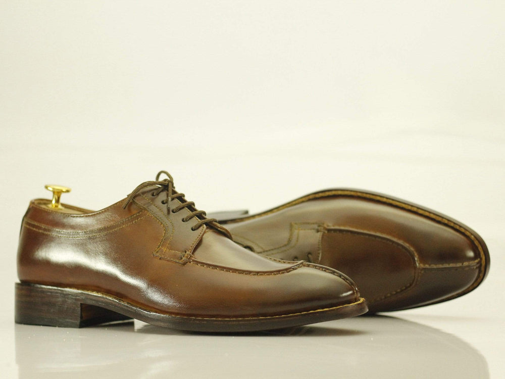 BESPOKESTORES dress shoes Bespoke Brown Split Toe Leather Shoes for Men's