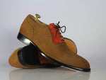 Bespoke Brown Suede Cap Toe Dress Shoes For Men's
