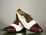 Bespoke Burgundy & White Cap Toe Lace Up Leather Shoes for Men's
