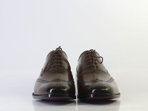 BESPOKESTORES dress shoes Bespoke Brown Wing Tip Brogue Leather Shoes for Men's