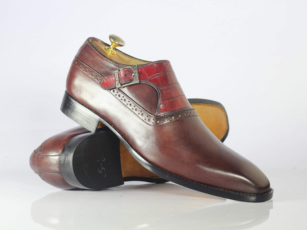 Bespoke Burgundy Alligator Texture Leather Buckle Shoes for Men's