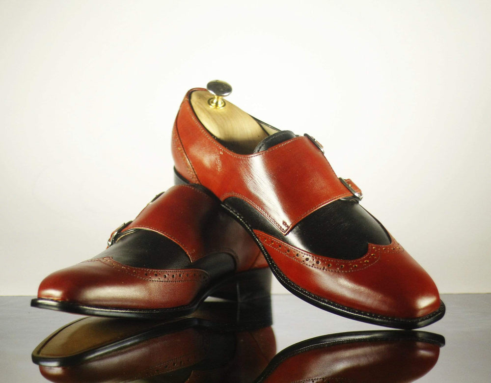 Bespoke Burgundy & Black Wing Tip Leather Monk Shoes for Men's