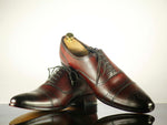 Bespoke Burgundy Cap Toe Brogue Leather Shoes for Men's