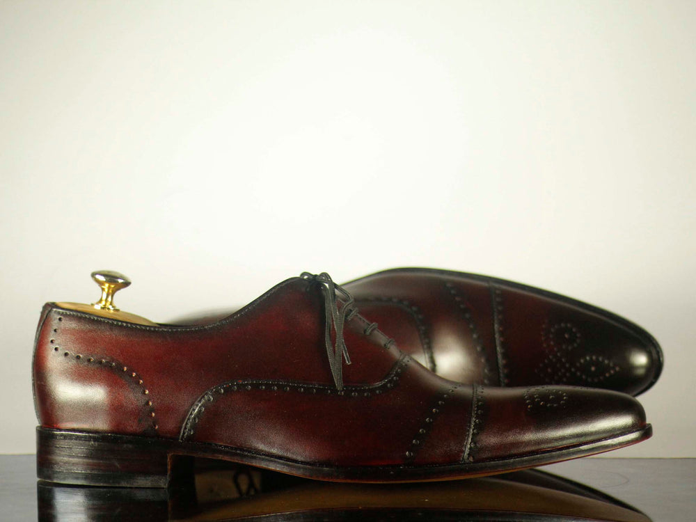 BESPOKESTORES dress shoes Bespoke Burgundy Cap Toe Brogue Leather Shoes for Men's