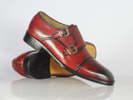 Bespoke Burgundy Leather Cap Toe Monk Strap Shoes for Men's