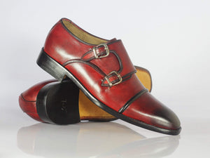 BESPOKESTORES dress shoes Bespoke Burgundy Leather Cap Toe Monk Strap Shoes for Men's