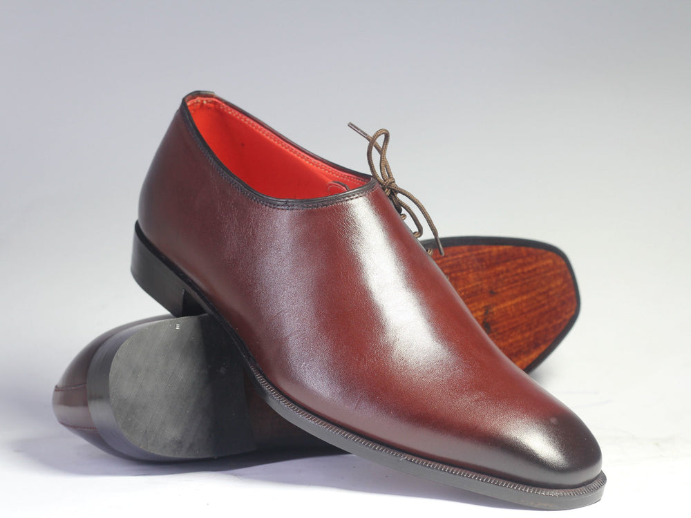 Bespoke Burgundy Side Lace Up Leather Shoes for Men's