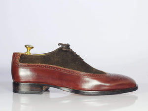 BESPOKESTORES dress shoes Bespoke Burgundy Wing Tip Leather & Suede Shoes for Men's