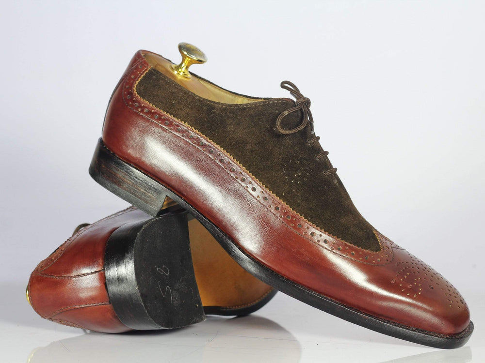 Bespoke Burgundy Wing Tip Leather & Suede Shoes for Men's