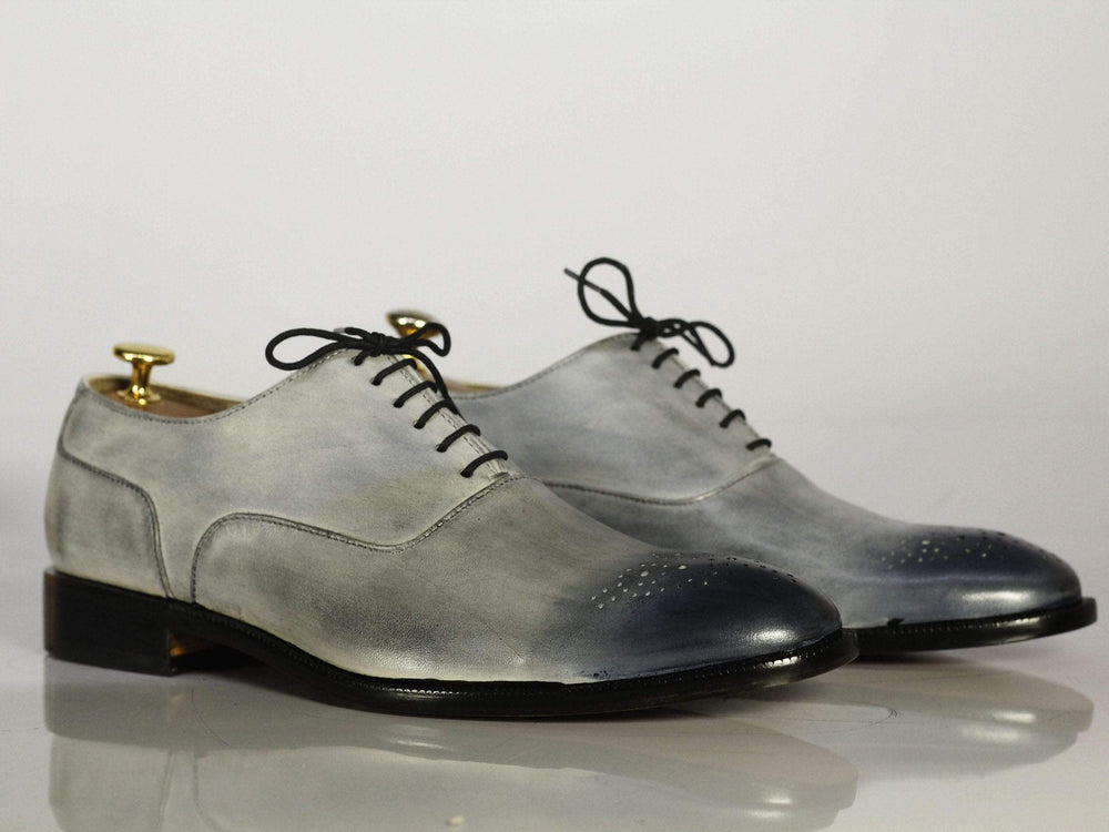 BESPOKESTORES dress shoes Bespoke Gray Brogue Toe Leather Dress Shoes for Men's