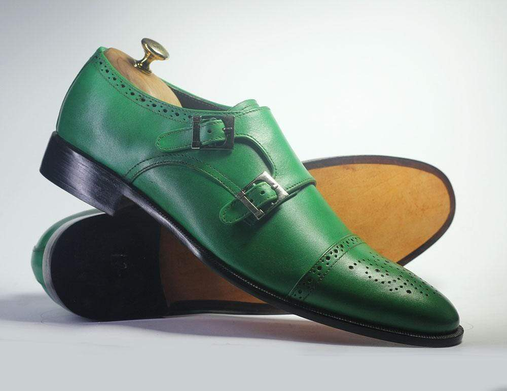BESPOKESTORES dress shoes Bespoke Green Double Monk Cap Toe Leather Shoes for Men's