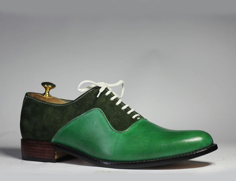 BESPOKESTORES dress shoes Bespoke Green Leather & Suede Shoes for Men's