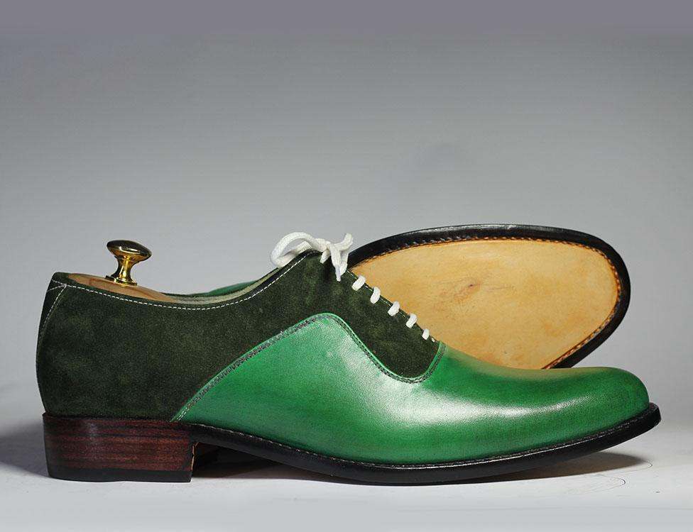 Bespoke Green Leather \u0026 Suede Shoes for