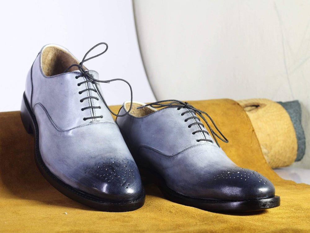 BESPOKESTORES dress shoes Bespoke Grey Brogue Toe Lace Up Leather Shoes for Men's