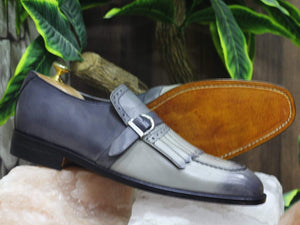 BESPOKESTORES dress shoes Bespoke Grey Fringe Leather Monk Loafers for Men's