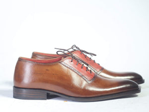 BESPOKESTORES dress shoes Bespoke Maroon & Brown Leather Lace Up Shoes for Men's