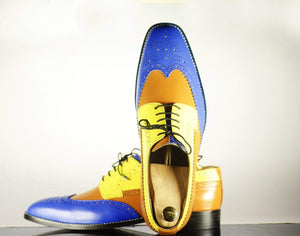 Bespoke Multi Color Leather Wing Tip Brogue Shoes for Men's