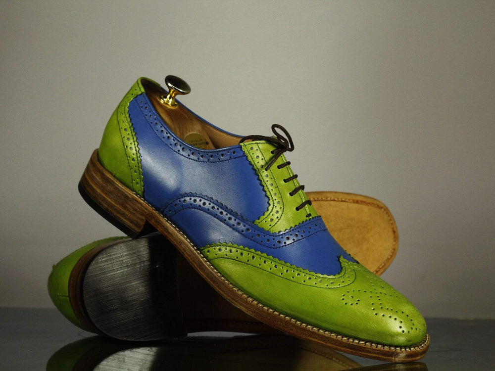 BESPOKESTORES dress shoes Bespoke Multi Color Leather Wing Tip Brogue Shoes for Men's