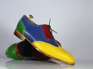 Bespoke Multi Color Wing Tip Leather Shoes for Men's
