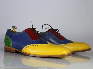 BESPOKESTORES dress shoes Bespoke Multi Color Wing Tip Leather Shoes for Men's