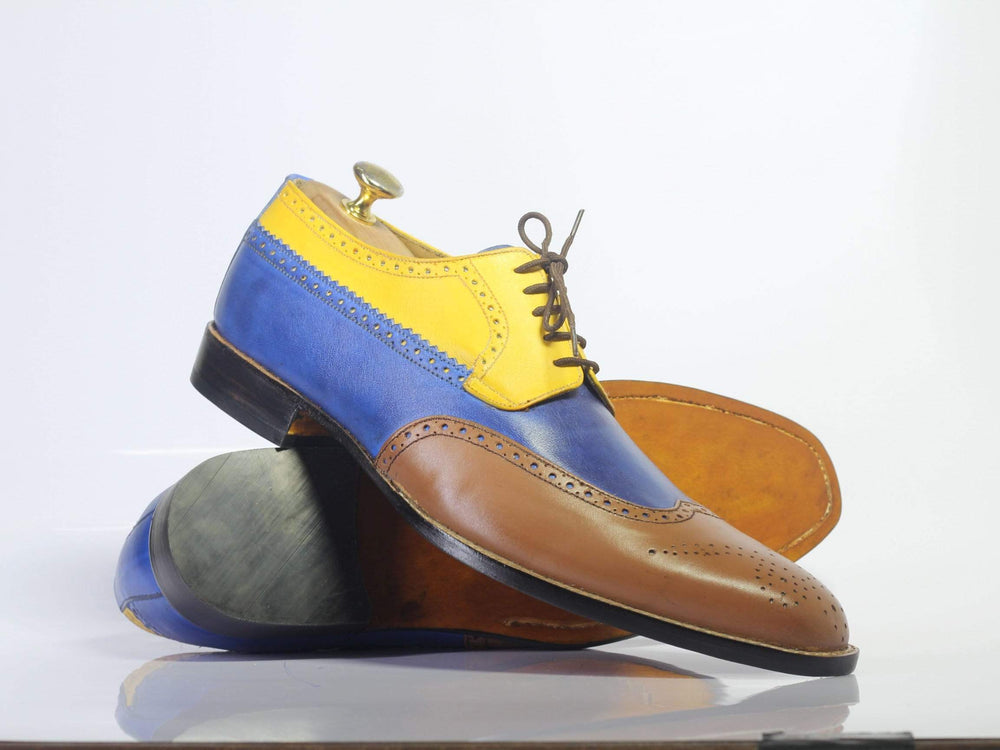 Bespoke Multi Color Wing Tip Oxford Leather Shoes