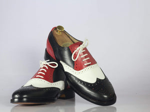 BESPOKESTORES dress shoes Bespoke Multi Color Wing Tip Oxford Leather Shoes
