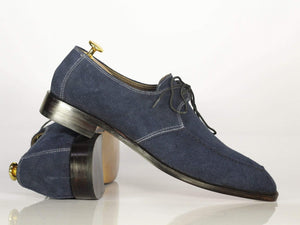 BESPOKESTORES dress shoes Bespoke Navy Round Toe Suede Dress Shoes for Men's