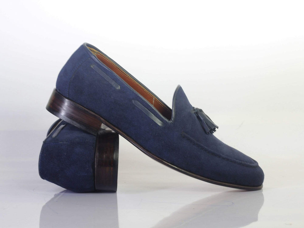 BESPOKESTORES dress shoes Bespoke Navy Round Toe Suede Tussle Loafers For Men's