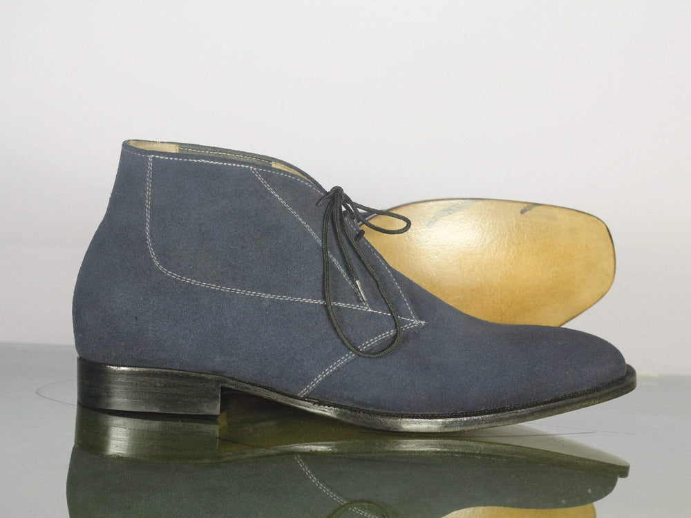 BESPOKESTORES dress shoes Bespoke Navy Suede Chukka Dress Boots for Men's