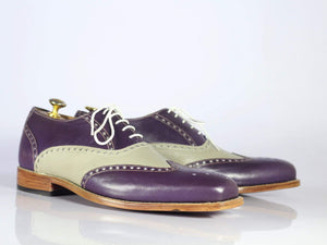 BESPOKESTORES dress shoes Bespoke Purple & Gray Wing Tip Leather Shoes for Men's