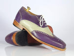 Bespoke Purple & Gray Wing Tip Leather Shoes for Men's