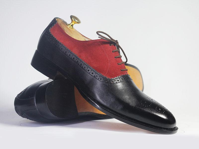 BESPOKESTORES dress shoes Bespoke Red & Black Brogue Toe Leather & Suede Shoes for Men's