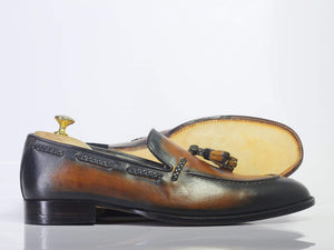 BESPOKESTORES dress shoes Bespoke Slip On Party Leather Tussle Shoes