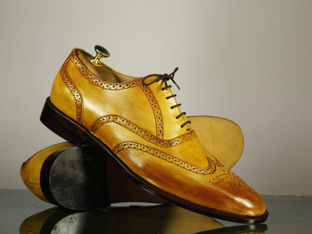 Bespoke Tan Color Leather Wing Tip Brogue Shoes for Men's