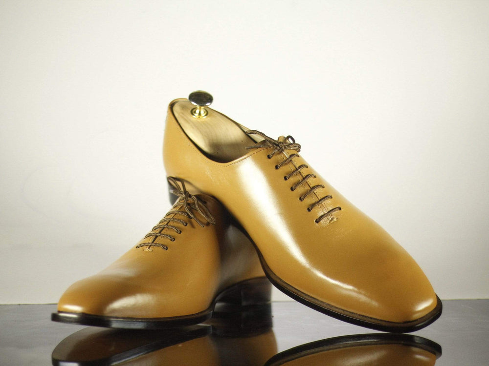 Bespoke Tan Leather Dress Lace Up Shoes for Men's