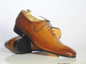 BESPOKESTORES dress shoes Bespoke Tan Leather Lace Up Shoes For Men's