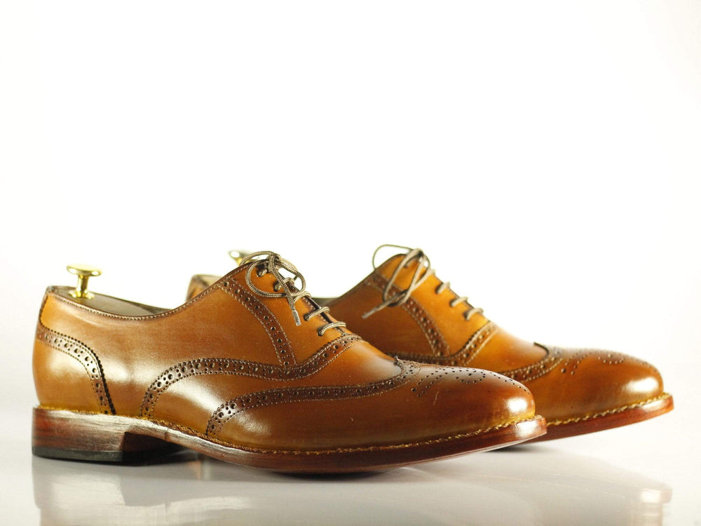 BESPOKESTORES dress shoes Bespoke Tan Wing Tip Brogue Leather Shoes for Men's
