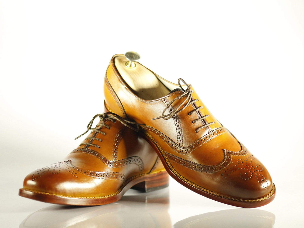 Bespoke Tan Wing Tip Brogue Leather Shoes for Men's