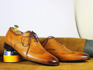 BESPOKESTORES dress shoes Bespoke Tan Wing Tip Leather Shoes for Men's
