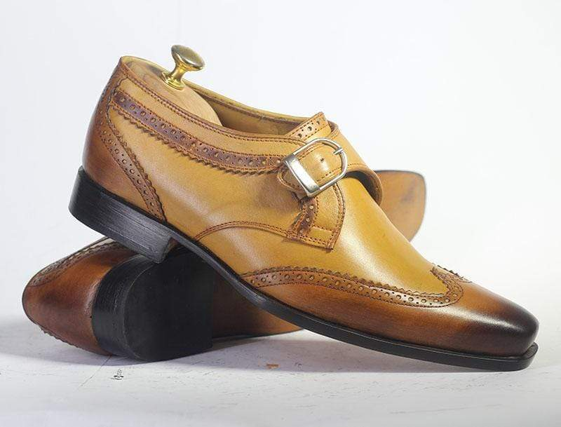 Bespoke Tan Wing Tip Two Tone Leather Monk Shoes for Men's