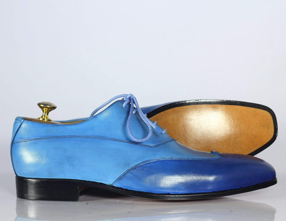Two Tone Wing Tip Brogue Leather Shoes