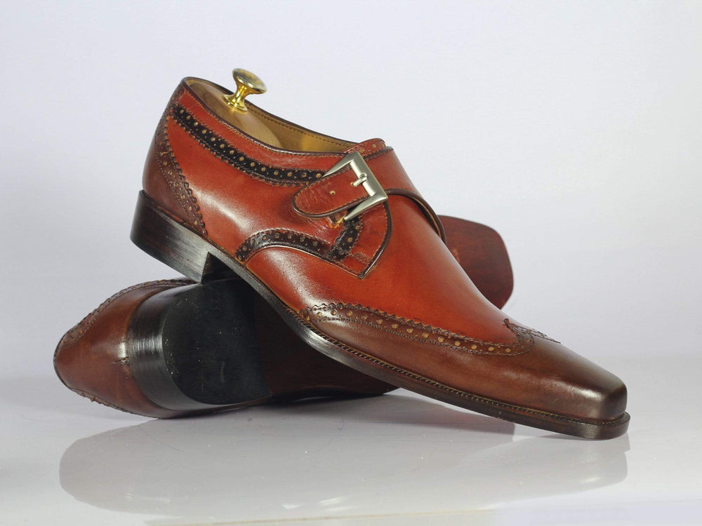 BESPOKESTORES dress shoes Bespoke Two Tone Wing Tip Leather Monk Shoes for Men's