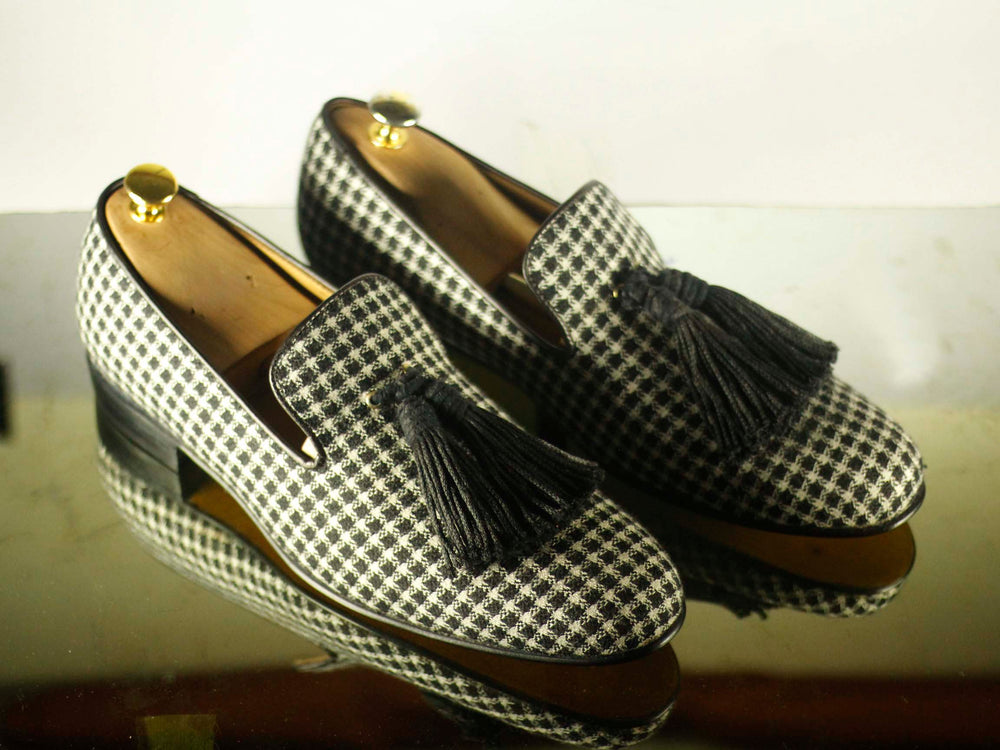 Bespoke White & Black Dog Print Suede Tussles Shoes for Men's