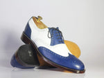 Bespoke White & Navy Wing Tip Brogue Leather Shoes