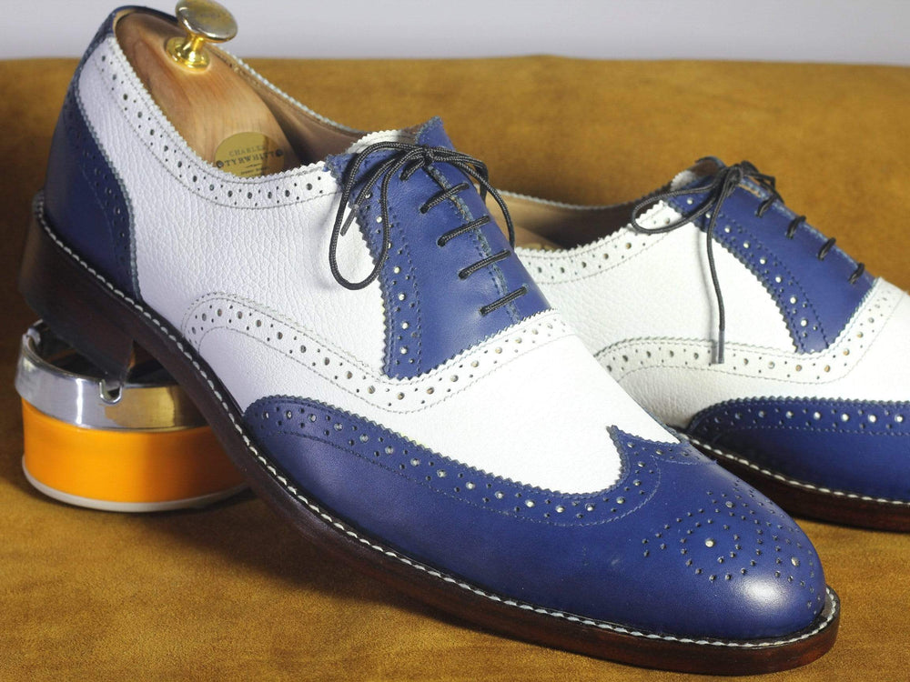 BESPOKESTORES dress shoes Bespoke White & Navy Wing Tip Brogue Leather Shoes