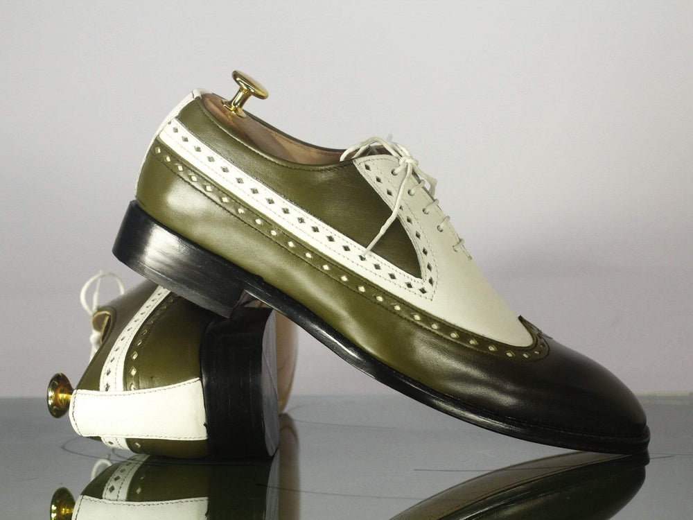 Bespoke White & Olive Green Wing Tip Leather Dress Shoes for Men's